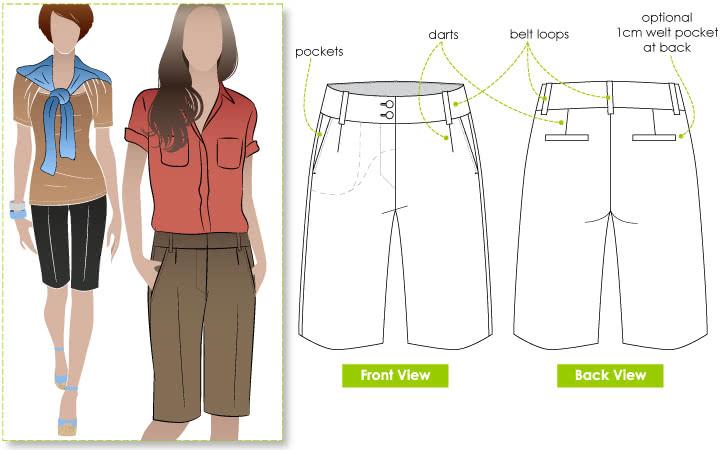 Karen Walk Short Sewing Pattern By Style Arc - Great long line woven short