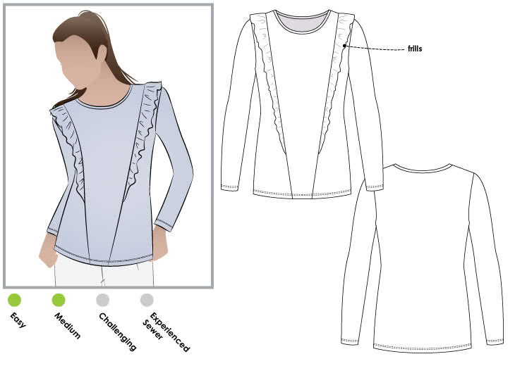 "Keely Knit Top Sewing Pattern By Style Arc - Fashionable long sleeve ""T"" top with design lines and frills"