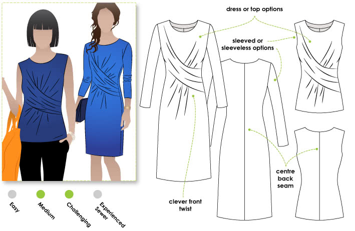 Kellie Jersey Dress / Top Sewing Pattern By Style Arc - A new twist on the drape dress/top