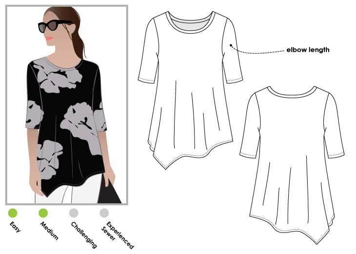 Kim Swing Top Sewing Pattern By Style Arc - Jersey swing top with an asymmetrical hemline and short sleeve