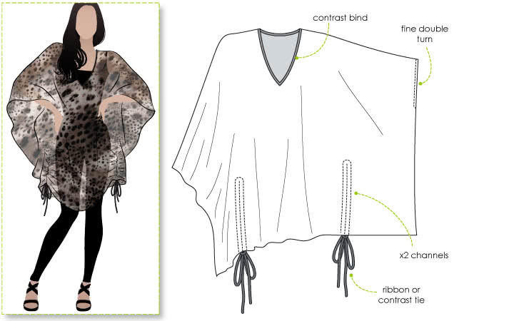 Kitty Kaftan Sewing Pattern By Style Arc - A great Kaftan suitable for all shapes and sizes