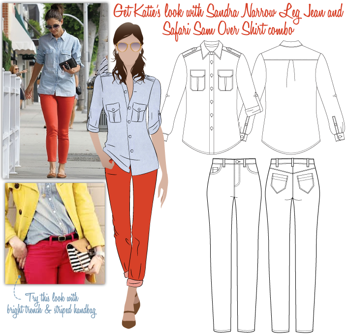 Katie's Look No.1 Sewing Pattern Bundle By Style Arc - Katie's Look 1 = Sandra Narrow Leg Jeans & Safari Sam Over-Shirt