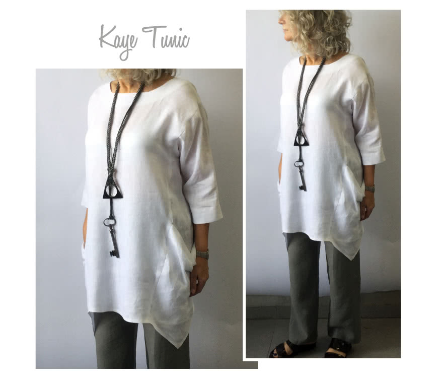 Kaye Tunic Sewing Pattern By Style Arc - A long line tunic top with a unique symmetrical hemline that creates a flattering draped effect