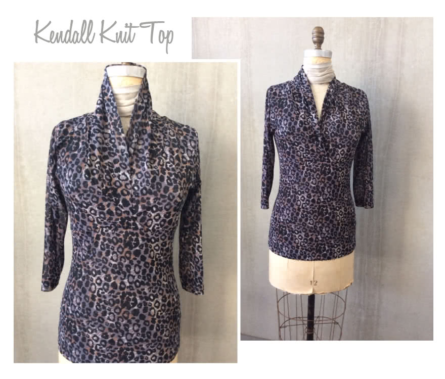 Kendall Knit Top Sewing Pattern By Style Arc - Cross-over shawl collar top with 7/8 length sleeves
