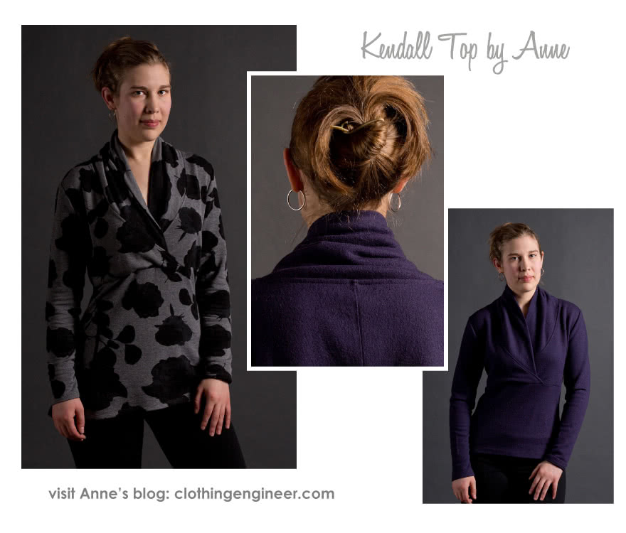 Kendall Knit Top Sewing Pattern By Anne And Style Arc - Cross-over shawl collar top with 7/8 length sleeves
