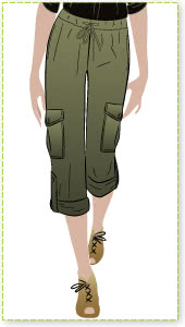 Kerry Cargo Pant Sewing Pattern By Style Arc - Safari style straight leg cargo pant