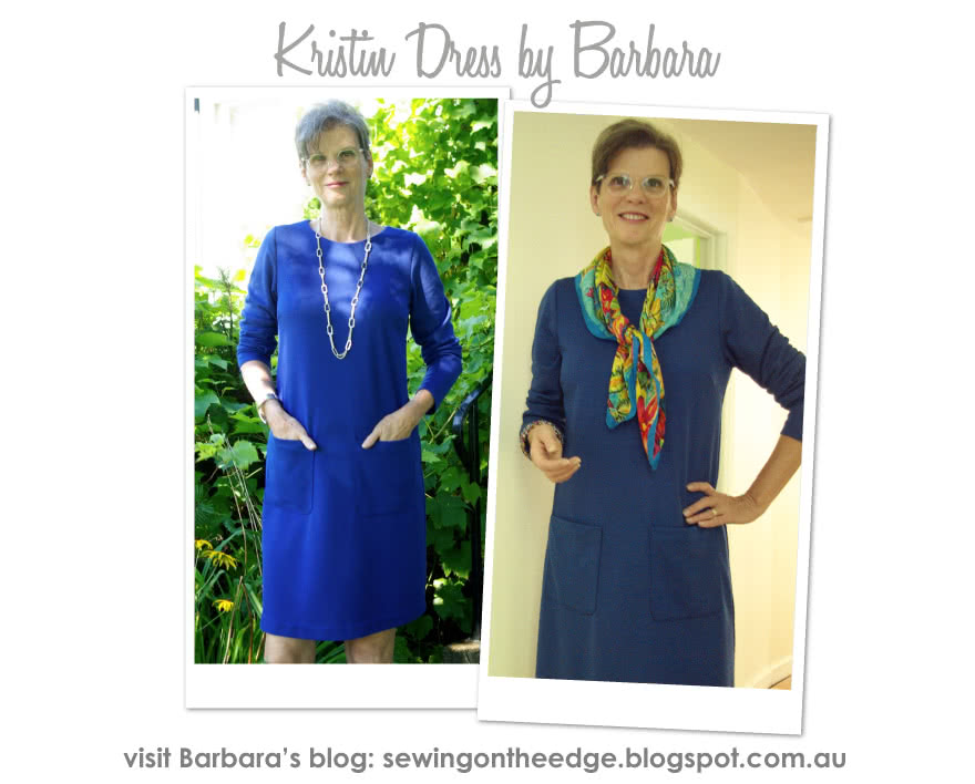 Kristin Dress Sewing Pattern By Barbara And Style Arc - A-line dress with long/short sleeves & patch pockets
