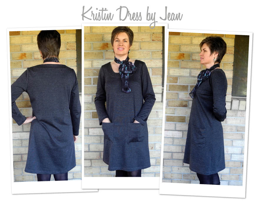 Kristin Dress Sewing Pattern By Jean And Style Arc - A-line dress with long/short sleeves & patch pockets