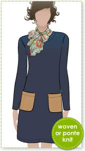 Kristin Dress Sewing Pattern By Style Arc - A-line dress with long/short sleeves & patch pockets
