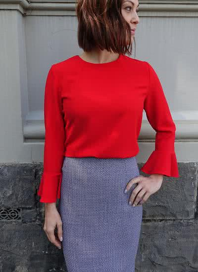Kristy Woven Top Sewing Pattern By Style Arc - Fashionable top featuring a neck dart treatment and wrist-length flounced sleeves.
