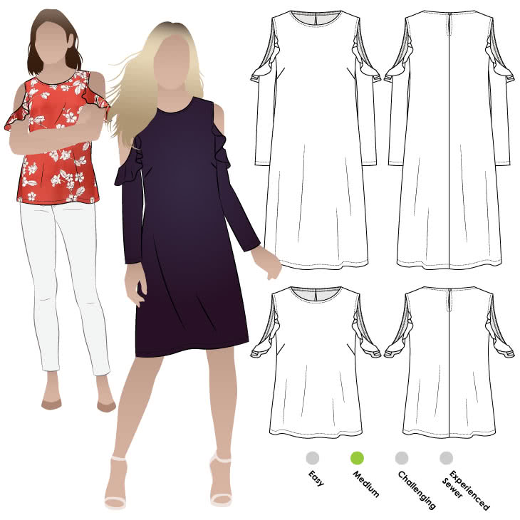 Lara Jane Dress Sewing Pattern By Style Arc - Fashionable cold shoulder dress with sleeve flounce.