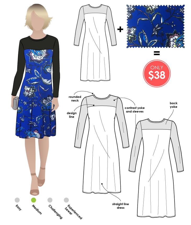 Laura Dress + Blue Floral Print Jersey Sewing Pattern Fabric Bundle By Style Arc - Laura Knit Dress pattern + Blue Floral print jersey fabric