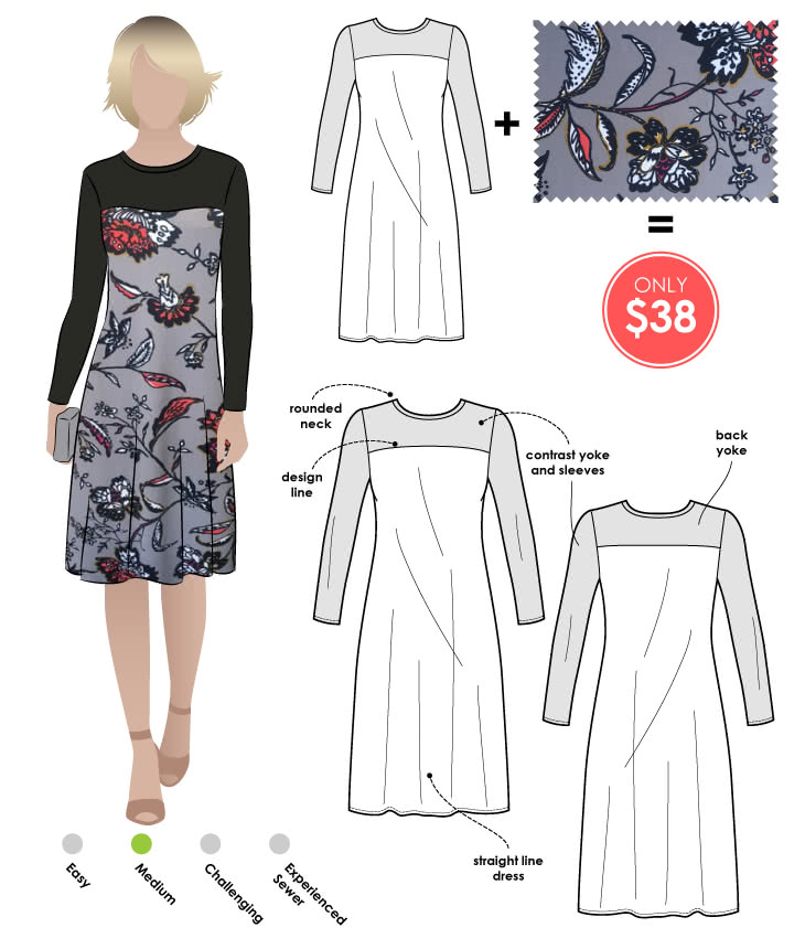 Laura Dress + Grey Floral Print Jersey Sewing Pattern Fabric Bundle By Style Arc - Laura Knit Dress pattern + Grey Floral print jersey fabric