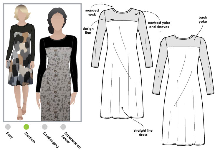 Laura Knit Dress Sewing Pattern By Style Arc - Simple pull on dress with contrast yoke & sleeves