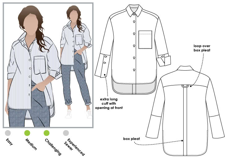 Lauren Boyfriend Shirt Sewing Pattern By Style Arc - Oversized shirt with sleeve interest