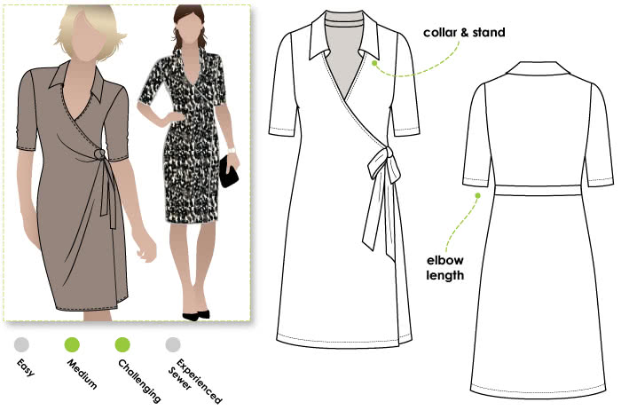 Lea Knit Wrap Dress Sewing Pattern By Style Arc - New wrap dress with collar and elbow length sleeve