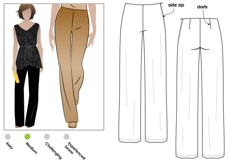Leah Lounge Pant Sewing Pattern By Style Arc - Woven pant suitable for crepe or soft suiting