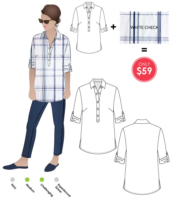 Lennie Over-Shirt + White Check Print Linen Sewing Pattern Fabric Bundle By Style Arc - Lennie Over-shirt pattern + White check print linen fabric