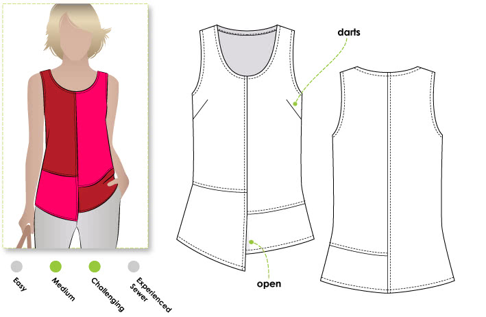 Lexie Panel Top Sewing Pattern By Style Arc - Casual top with detailed panelling