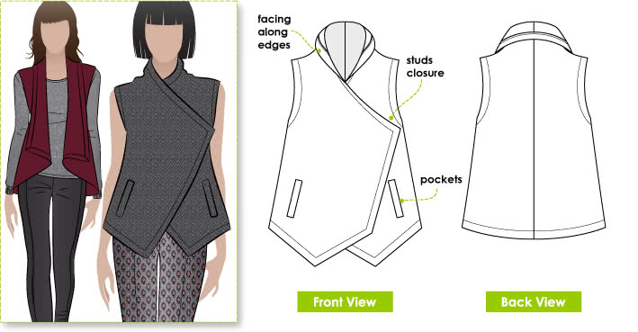 Lizzie Wrap Sewing Pattern By Style Arc - Stylish wrap top with stud opening and welted pockets