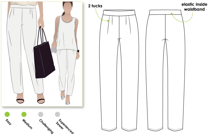 Lucinda Knit Pant Sewing Pattern By Style Arc - Easy to wear and easy to sew