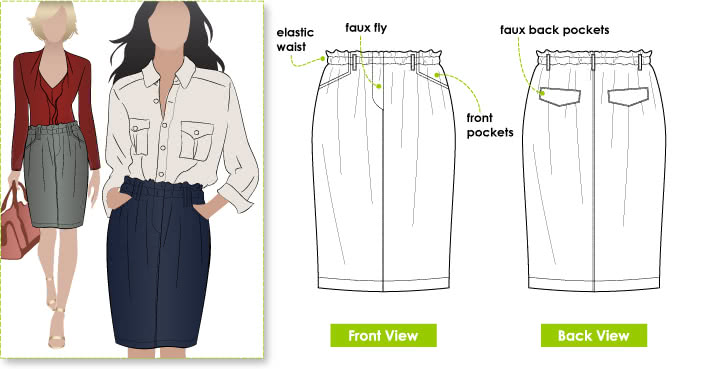 Lynne Skirt Sewing Pattern By Style Arc - Fashionable pull-on skirt with elastic waist