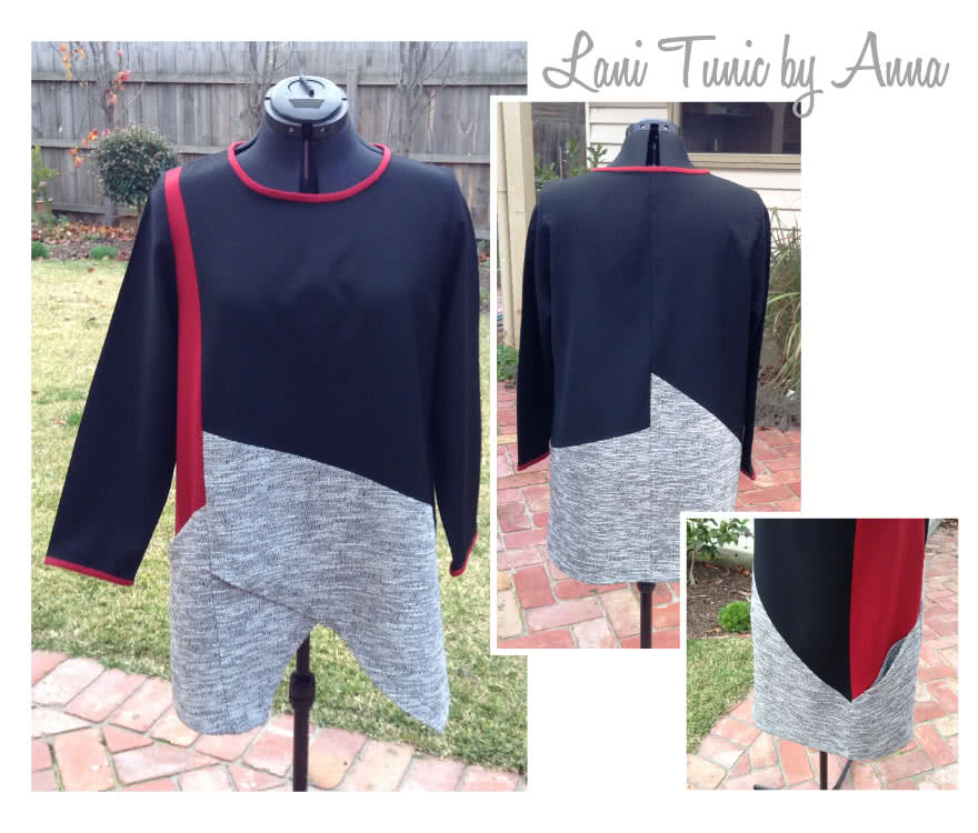 Lani Woven Tunic Sewing Pattern By Anna And Style Arc - Gorgeous tunic with asymmetrical design lines and ¾ sleeves