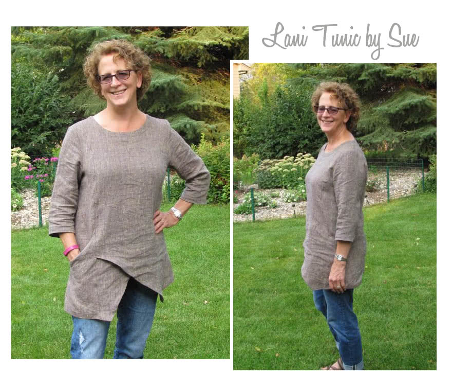 Lani Woven Tunic Sewing Pattern By Sue And Style Arc - Gorgeous tunic with asymmetrical design lines and ¾ sleeves