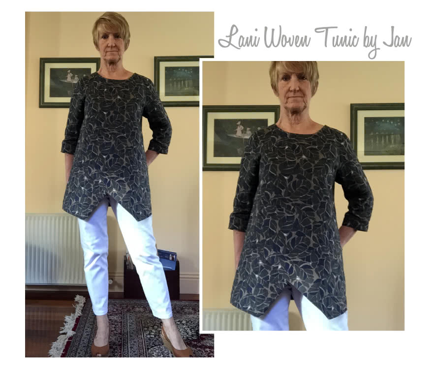 Lani Woven Tunic Sewing Pattern By Jan And Style Arc - Gorgeous tunic with asymmetrical design lines and ¾ sleeves