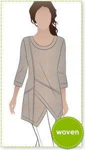 Lani Woven Tunic Sewing Pattern By Style Arc - Gorgeous tunic with asymmetrical design lines and ¾ sleeves