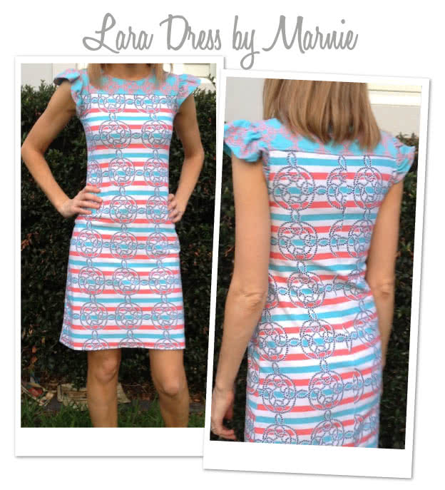Laura Knit Dress Sewing Pattern By Marnie And Style Arc - Simple pull on dress with contrast yoke & sleeves