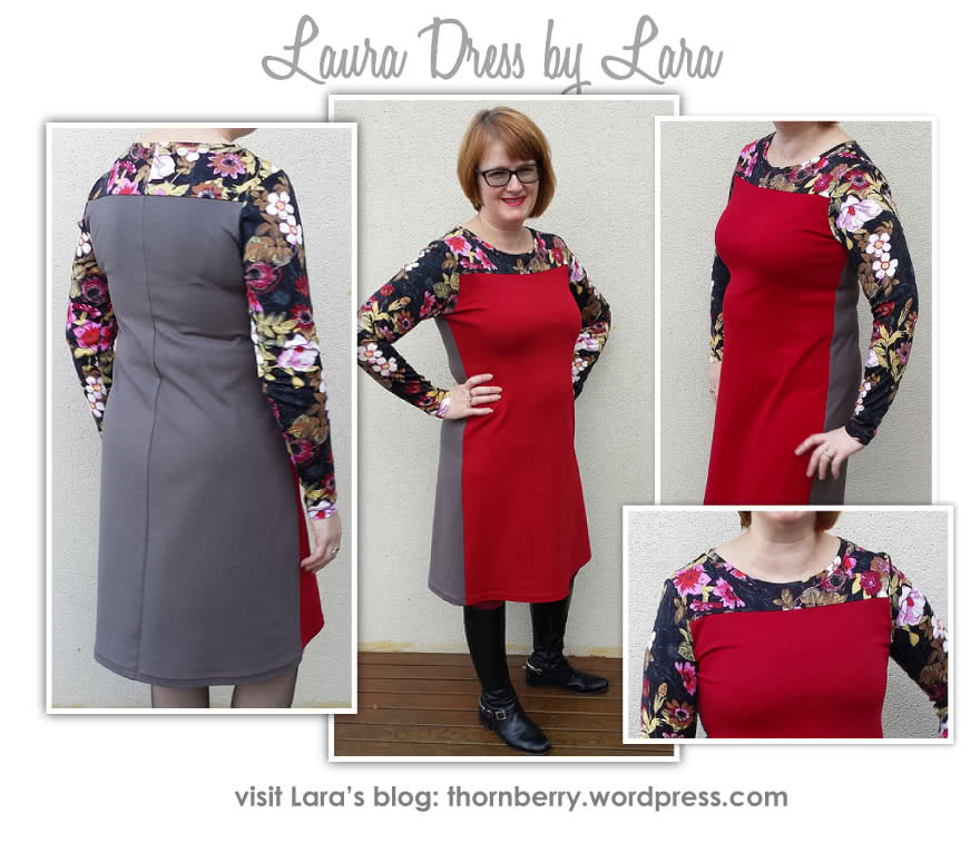 Laura Knit Dress Sewing Pattern By Lara And Style Arc - Simple pull on dress with contrast yoke & sleeves