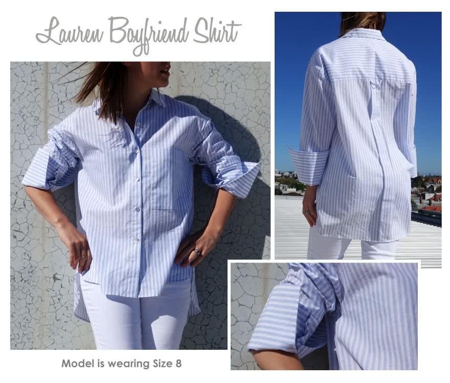 Lauren Boyfriend Shirt Sewing Pattern By Style Arc - Oversized shirt with sleeve interest
