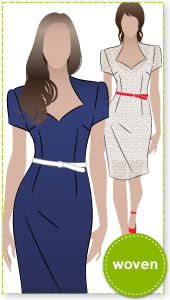 Layla Dress Sewing Pattern By Style Arc - Classic fitted cap sleeve dress with shaped neckline