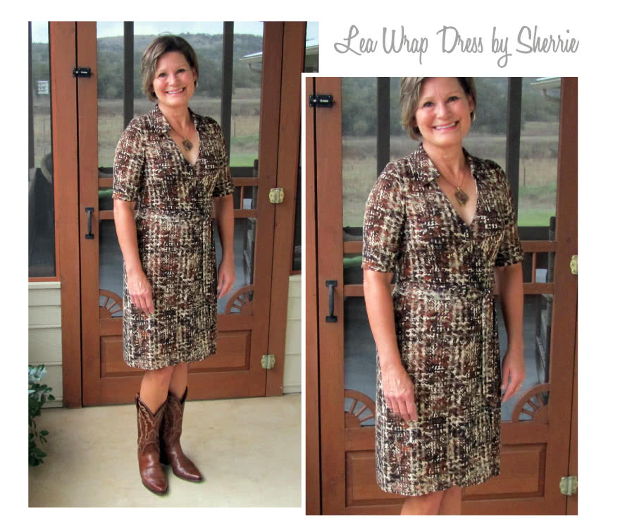 Lea Knit Wrap Dress Sewing Pattern By Sherrie And Style Arc - New wrap dress with collar and elbow length sleeve