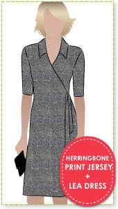 "Lea Dress + Herringbone Print Jersey Sewing Pattern Fabric Bundle By Style Arc - Leah Dress pattern + ""herringbone"" print jersey fabric"