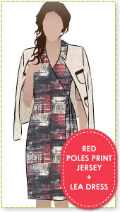 "Lea Dress + Red Poles Print Jersey Sewing Pattern Fabric Bundle By Style Arc - Leah Dress pattern + ""red poles"" print jersey fabric"