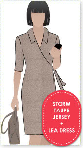 Lea Dress + Storm Taupe Knit Jersey Sewing Pattern Fabric Bundle By Style Arc - Leah Dress pattern + storm taupe knit jersey fabric