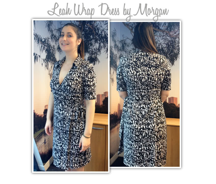 Lea Knit Wrap Dress Sewing Pattern By Morgan And Style Arc - New wrap dress with collar and elbow length sleeve
