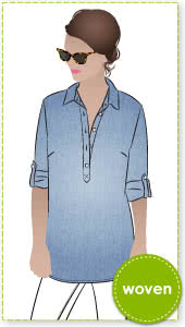 Lennie Over-Shirt Sewing Pattern By Style Arc - Over-shirt featuring a ¾ front tab & a rolled up buttoned sleeve