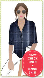 Lennie Over-Shirt + Navy Check Print Linen Sewing Pattern Fabric Bundle By Style Arc - Lennie Over-shirt pattern + Navy check print linen fabric