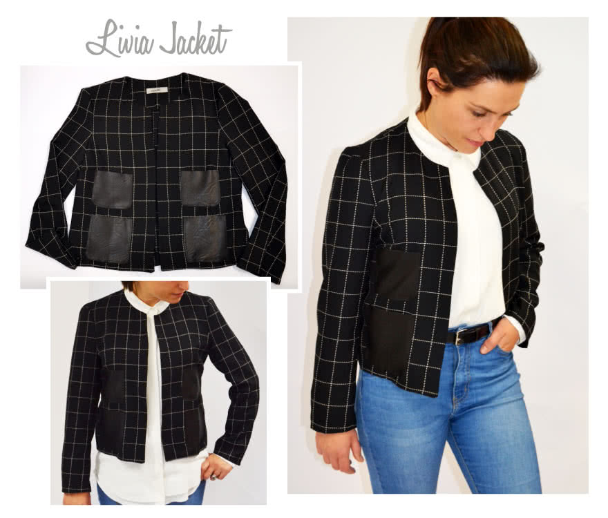 Livia Jacket Sewing Pattern By Style Arc - Classic jacket with pocket treatment