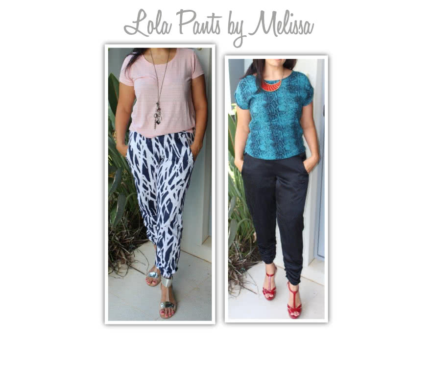 Lola Pant Sewing Pattern By Melissa And Style Arc - Casual elastic waist pant with pockets & back hem detail
