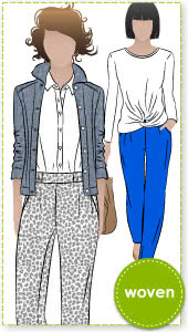 Lola Pant Sewing Pattern By Style Arc - Casual elastic waist pant with pockets & back hem detail