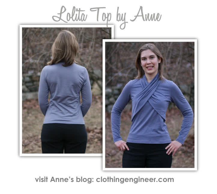 Lolita Knit Top Sewing Pattern By Anne And Style Arc - Gorgeous knit top with beautiful wrap collar