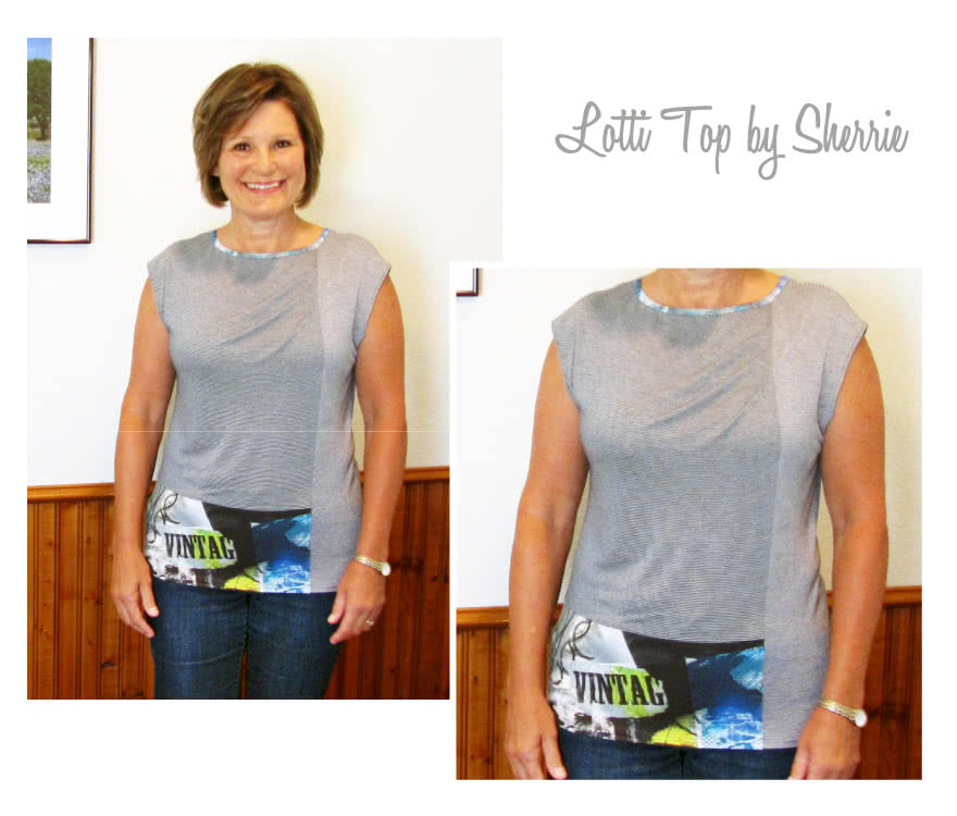 Lotti Knit Top Sewing Pattern By Sherrie And Style Arc - Fashionable panelled knit top with extended shoulder and front tucks