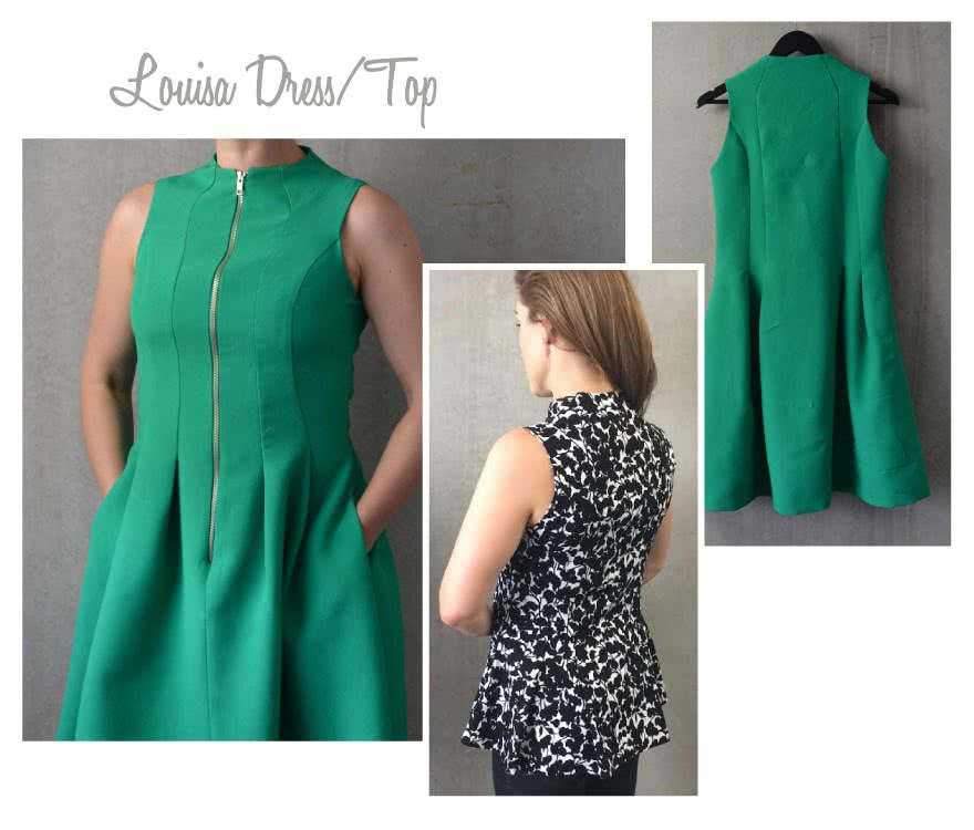 Louisa Dress / Top Sewing Pattern By Style Arc - Fun dress with gorgeous design lines and front zip, or cut it shorter to make a fabulous on trend peplum top.