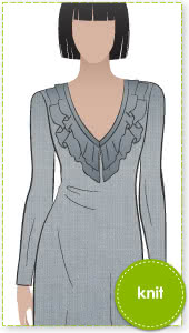 Lucy Knit Dress Sewing Pattern By Style Arc - Knit dress with fashionable double frill neck trim