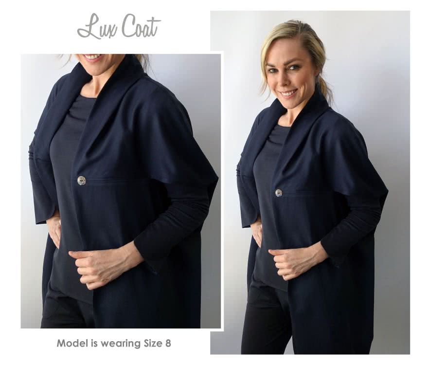 Lux Coat Sewing Pattern By Style Arc - Slightly over sized sleeveless coat with a shawl collar