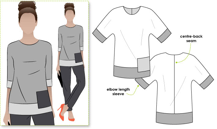 Maddie Top Sewing Pattern By Style Arc - Colour-blocked tunic with trendy all in one body & sleeve